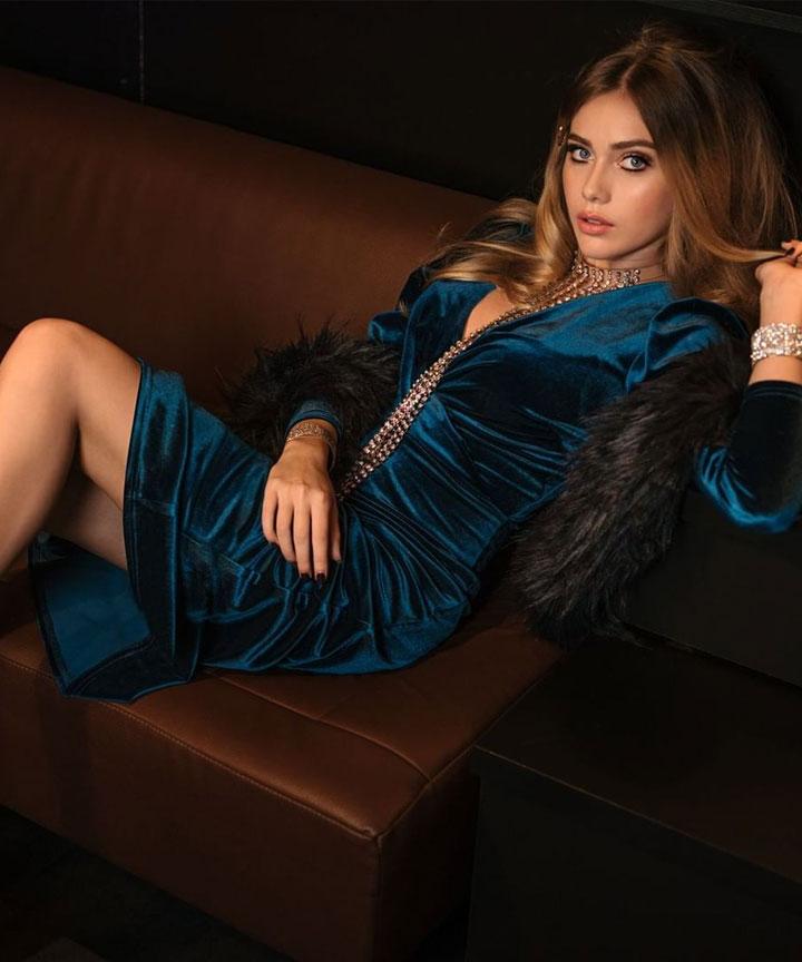 Closet London Teal Velvet Wrap Midi Dress