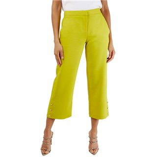 Closet London Lime Crop Trousers With Button Detail