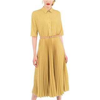 Closet London Yellow Shirt Dress With Pleated Skirt