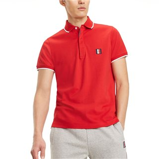 Tommy Hilfiger Haute Red Pure Cotton Tipped Collar Polo Shirt