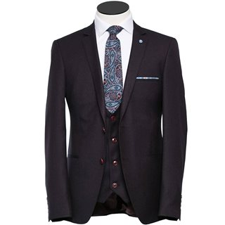 Benetti Wine Ollie Regular Fit 3-Piece Suit