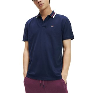 Tommy Jeans Black Iris Classic Stretch Cotton Tipped Polo