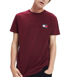 Tommy Jeans Burgundy Badge Cotton T-Shirt