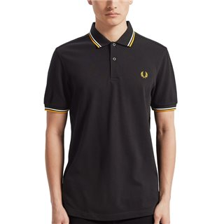 Fred Perry Black / White / Sunglow M3600 Twin Tipped Polo Shirt