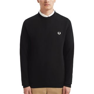 Fred Perry Black Merino Crew Neck Sweater