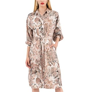 Closet London Beige Snakeskin Print Shirt Dress