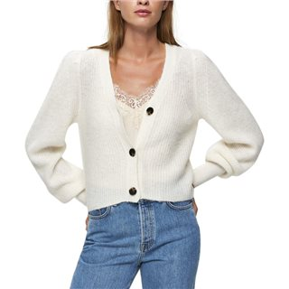 Selected Femme Snow White Cropped Knitted Cardigan