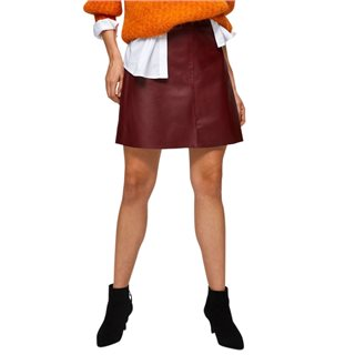 Selected Femme Cabernet Leather Mini Skirt