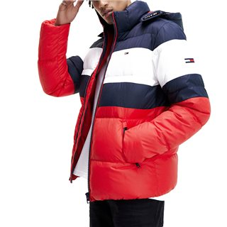Tommy Jeans Black Iris Rugby Colour Blocked Recycled Puffer Jacket