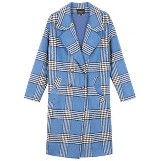 FRNCH Paris Blue Sandia Check Coat