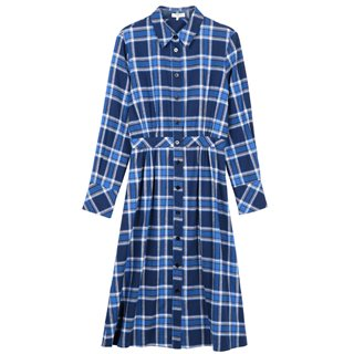 FRNCH Paris Blue Adenora Check Flannel Dress