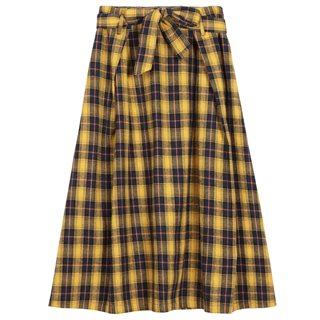FRNCH Paris Yellow / Black Eda Check Midi Skirt
