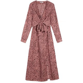 FRNCH Paris Pink Abelia Leopard Print Midi Dress