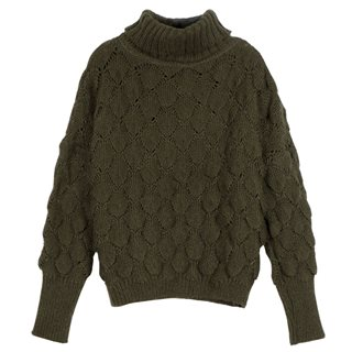 FRNCH Paris Green Nika Chunky Knit Sweater