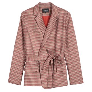 FRNCH Paris Orange Lorina Check Blazer