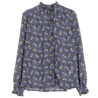 FRNCH Paris Navy Chan Floral Printed Top