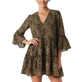 NA-KD Leo Print V-Neck Ruffle Mini Dress