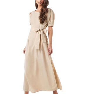 NA-KD Beige Puff Sleeve Belted Maxi Dress