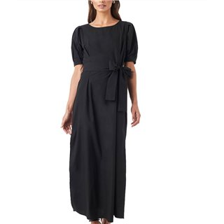 NA-KD Black Puff Sleeve Belted Maxi Dress