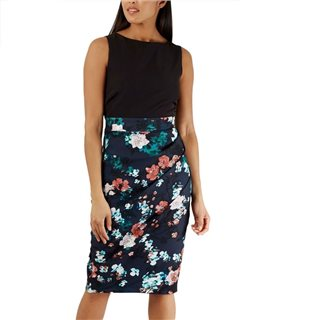 Closet London Navy Floral 2-In1 Pleated Pencil Dress