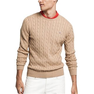 Gant Khaki Melange Cotton Cable Crew Sweater