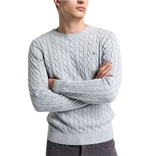 Gant Light Grey Cotton Cable Crew Sweater