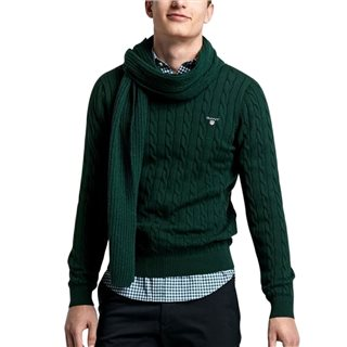 Gant Tartan Green Cotton Cable Crew Sweater