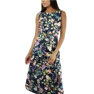 Closet London Navy Draped Front Floral Dress