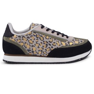 Woden Light Sand Agnes Leopard Trainers