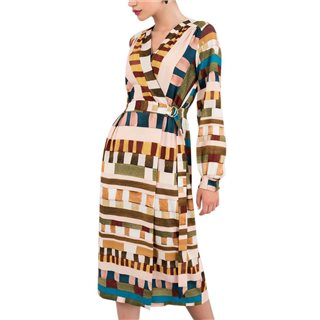 Closet London Beige Geometric Print Wrap Dress