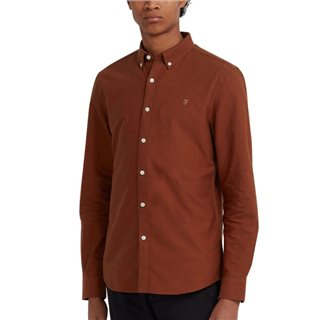 Farah Burnt Red Brewer Slim Fit Oxford Shirt