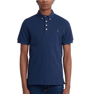 Farah Blue Peony Marl Ricky Short Sleeve Polo Shirt