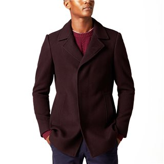 Remus Uomo Burgundy Lohmann Tapered Fit Wool Overcoat