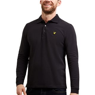 Lyle & Scott True Black Plain Long Sleeve Polo Shirt
