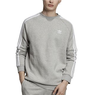 adidas Originals Medium Grey Heather 3-Stripes Crewneck Sweatshirt