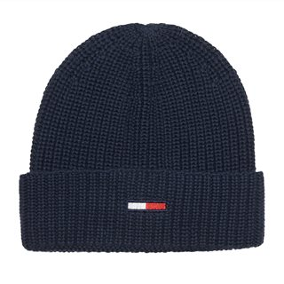 Tommy Accessories Black Iris Rib-Knit Flag Beanie