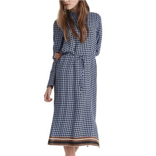 ICHI Country Blue Kaylie Check Midi Dress