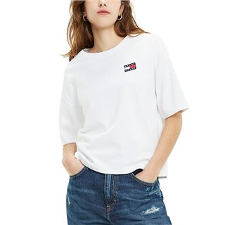 Tommy Hilfiger Ladies Classic White Badge Boyfriend Fit T-Shirt