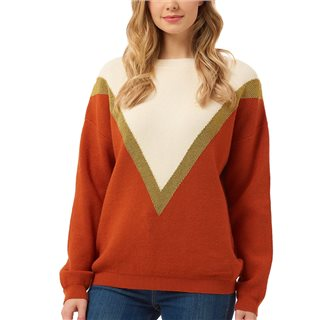 Sugarhill Brighton White / Orange Roxy Lurex Chevron Sweater