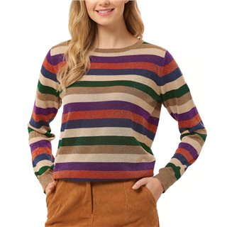Sugarhill Brighton Multicolour Alex Road Tripper Lurex Stripe Sweater