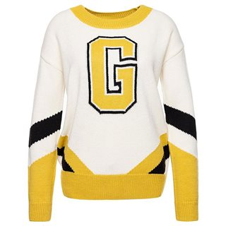 Guess White/Yellow Marta Crew Neck Sweater