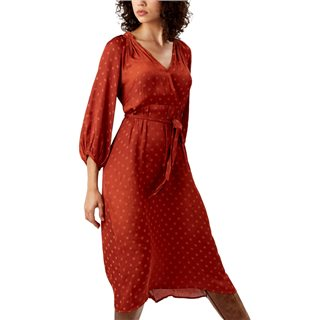 Traffic People Rust Polka Dot Belted Bell Dress