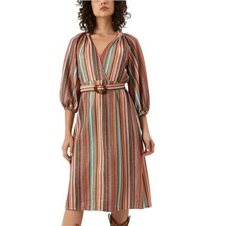 Traffic People Multicoloured Belt Up Shimmer Dress