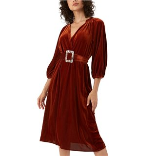 Traffic People Rust Cord Belt Up Dress