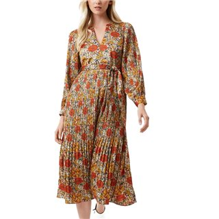 Traffic People Navy Peephole Floral Long Sleeve Maxi Dress