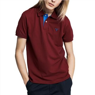Gant Mahogany Red Contrast Collar Pique Rugger