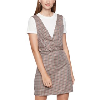 Vero Moda Brown Checked Pinafore Dress
