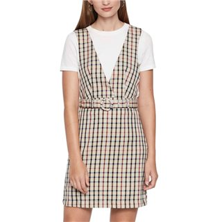 Vero Moda Tobacco Brown Checked Pinafore Dress