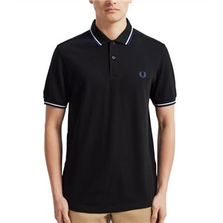Fred Perry Black / White / Blue M3600 Twin Tipped Polo Shirt