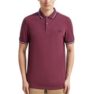 Fred Perry Mahogany / White / Black M3600 Twin Tipped Polo Shirt